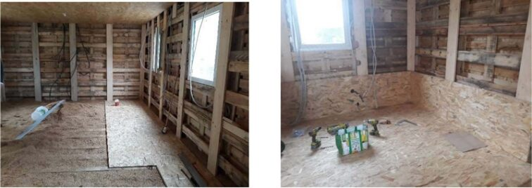 isolation murs exemple montage kit palettes 42m2