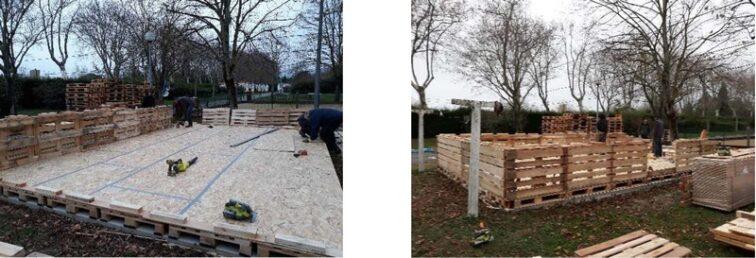 Pose Plancher en OSB kit palettes 42m2